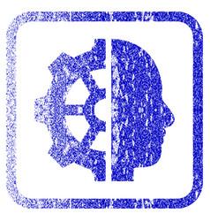 Cyborg gear framed textured icon vector