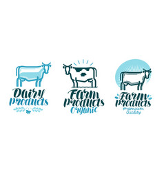 dairy products label set cow farm animal milk vector image vector image