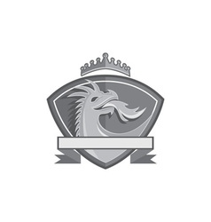 Dragon Breathing Fire Crown Shield Retro vector image vector image