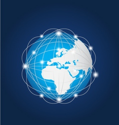 Global network europe africa vector