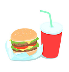 Hamburger and soft drink vector