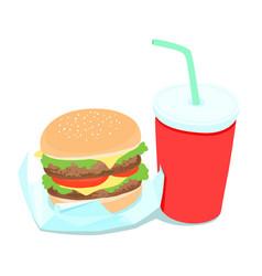 hamburger and soft drink vector image