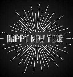 happy new year text show sunrays retro theme vector image