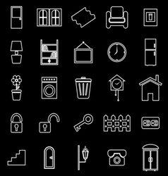 House related line icons on black background vector image vector image