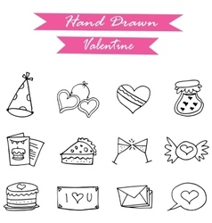 Icon of valentine day hand draw vector image