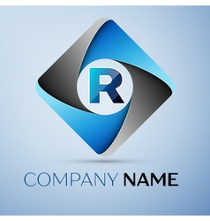 Letter R logo symbol in the colorful rhombus vector image