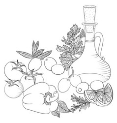 line art olive oil and vegetables vector image