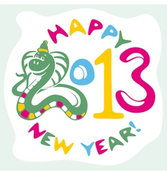 new year card with snake vector image vector image