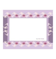 Rectangular floral frame vector image