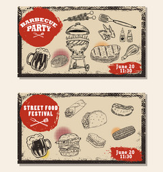 Set of bbq party invitation templates on light vector