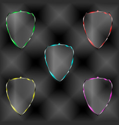 set of transparent shields vector image vector image