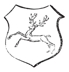 Stag courant have running deer vintage engraving vector