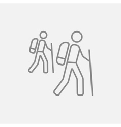 Tourist backpackers line icon vector