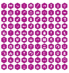 100 happy childhood icons hexagon violet vector image vector image