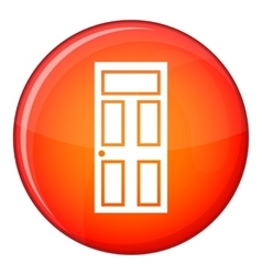 Wooden door with glass icon flat style vector image