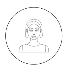 Black hair woman icon in outline style isolated on vector