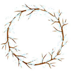 Winter frame with branches of tree and snow vector