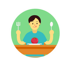 Young man prepare to eat tomato with spoon and vector