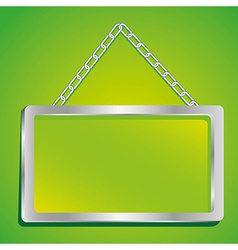 Metal frame with glass and chain on a green backgr vector