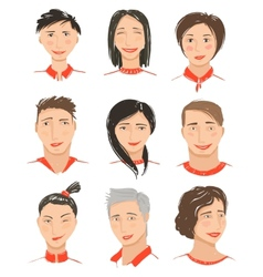 Men and Women Hand Drawn Face Avatars Set vector image