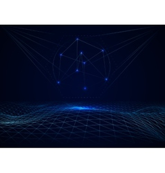 Abstract cyberspace grid waves vector