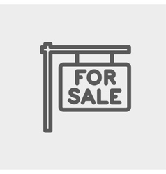 For sale placard thin line icon vector