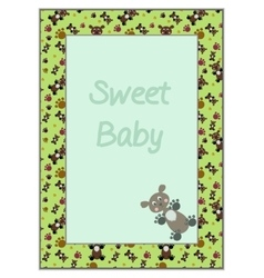 Card frame with green background teddy-bears vector