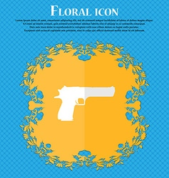 Gun floral flat design on a blue abstract vector