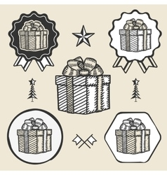 Gift box ribbon bow symbol emblem label collection vector