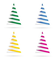 Christmas tree set in colorful vector