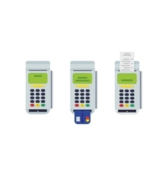 Pos terminal with inserted credit card and printed vector