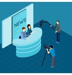 Professional Journalists At Studio Isometric vector image