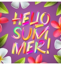 Hello summer holiday colorful template floral vector