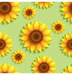 Nature seamless pattern with 3d sunflowers vector