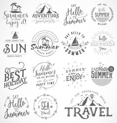 Summer calligraphic designs in vintage style vector