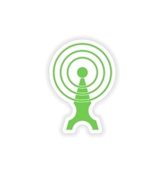 Paper sticker on white background wi fi tower vector