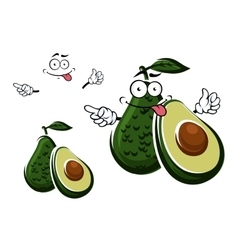 Avocado fruit character and seed with cut vector