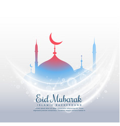 Awesome eid festival background with mosque and vector