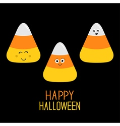 Candy corn set with funny faces Happy Halloween vector image vector image