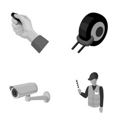 Car alarm wheel rim security camera parking vector