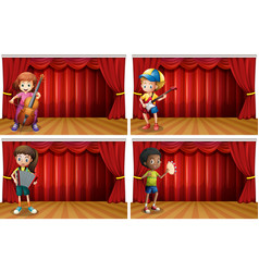 Children playing different musical instrument vector