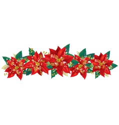 Christmas garland of poinsettia vector image