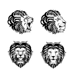 Collection of four engravings with lion head vector