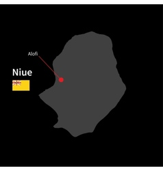Detailed map of Niue and capital city Alofi with vector image