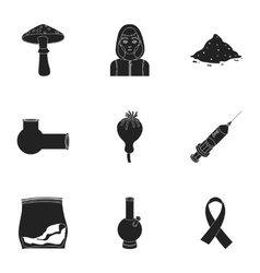 Drugs set icons in black style Big collection of vector image vector image