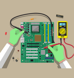 Engineer with multimeter checks motherboard vector
