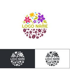 flowers coffee logo three vector image