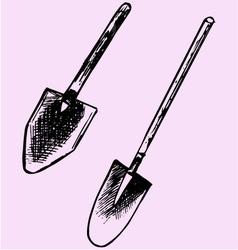 garden spades shovel vector image vector image