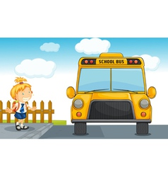 girl and school bus vector image vector image