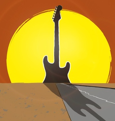 Guitar sunset vector